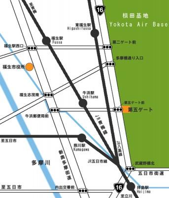 横田基地日米友好祭 第五ゲート案内図
